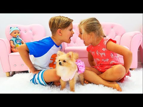 Diana and Roma play with a Dog and older sister