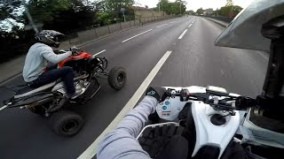9. We Meet Again Yamaha Yfz450R & Raptor 700R On The Motorway Road Legal Quad Bike England