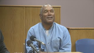 """O.J. Simpson will be released from the Lovelock Correctional Center as soon as October after his parole was approved. In his hearing, he recounted the 2007 robbery case, for which he was given a 33-year sentence, repeatedly claiming that he has """"never, ever pulled a weapon on anybody in my life."""" Simpson has spent more than eight years in prison after leading a group of men, some of them armed, into Bruce Fromong's room and demanding the return of property Simpson said belonged to him."""