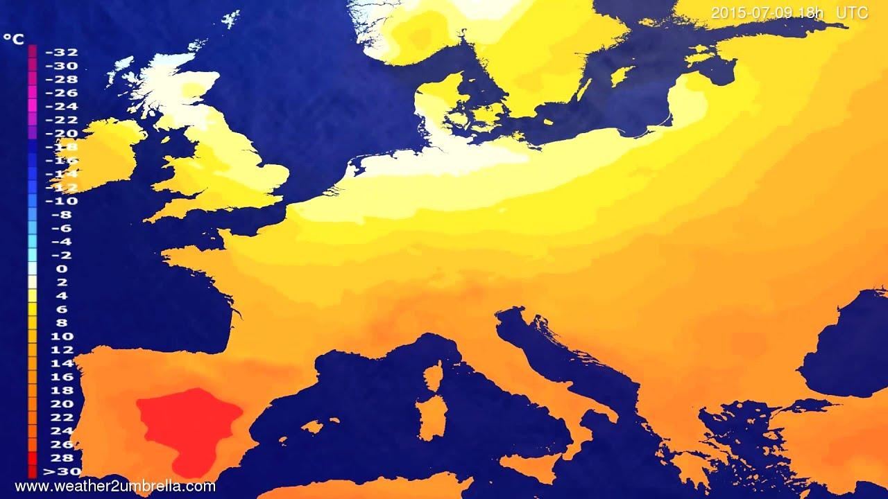 Temperature forecast Europe 2015-07-06