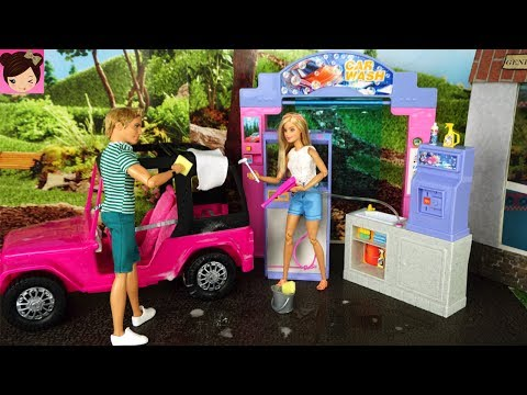Barbie & Ken Car Wash Cleaning Morning Routine - Doll Grocery Store  Gas Station with Elsa Anna