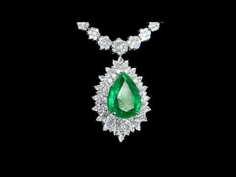 經C. DUNAIGRE鑑定14.22克拉祖母綠寶石鑲鑽石吊墜項鏈