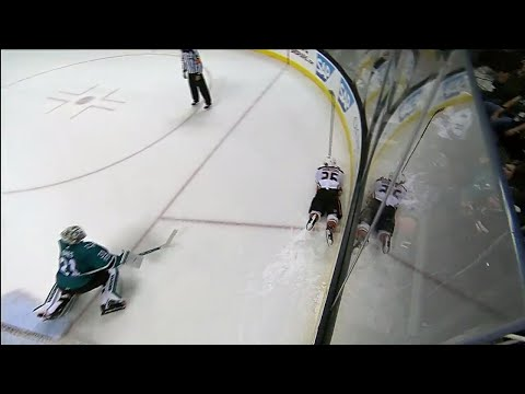 Video: Ducks' Montour crashes into boards after scoring in shootout vs. Sharks