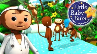 Five Little Monkeys Jumping On The Bed | Part 2 | Nursery Rhymes | by LittleBabyBum!