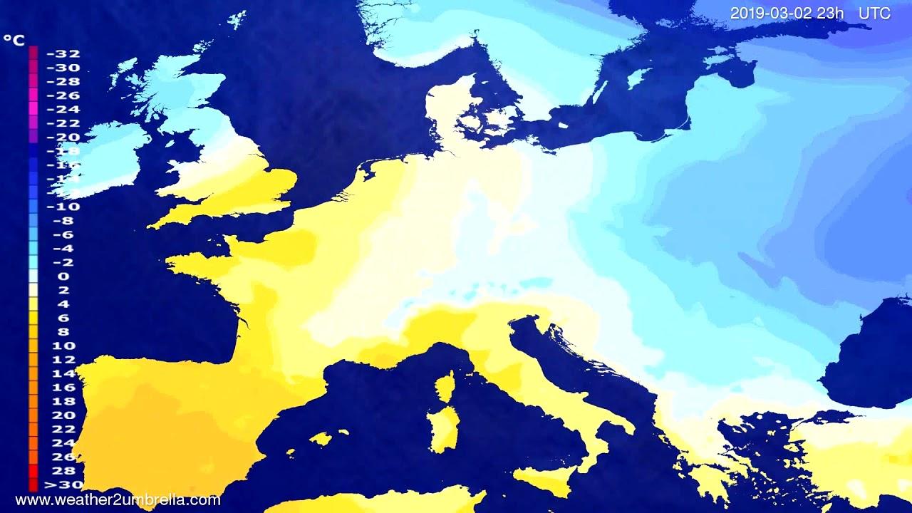 #Weather_Forecast// Temperature forecast Europe 2019-03-01