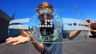 One year ago today we skated the Extremely Dangerous Glass skateboard sent to us by Avenue Trucks (http://www.avenuetrucks.com) and Aaron nearly lost his life. Then a few months later we skated the glass board with glass wheels. And today, we get the most beautiful glass board of them all! I hope you enjoy this and for more glass board episodes click here: https://www.youtube.com/watch?v=XdOmNZgxpDI&list=PLjpsoptsN4KAAuNoCDKhDhvD6aOyAAijDcome skate with us July 29th!  Tickets here:https://www.brailleskateboarding.com/product/learn-to-skate-night/http://www.brailleskateboarding.com/how-to-skateboard/YOU CAN LEARN TO SKATEBOARD! CLICK ABOVE TO GET THE MOST DETAILED HOW TO SKATEBOARD LESSON PLAN EVER MADE!  SKATEBOARDING MADE SIMPLE!GET SKATEBOARDING MADE SIMPLE ON iBOOKS! https://itunes.apple.com/us/artist/aaron-kyro/id733499725?mt=11GET SKATEBOARDING MADE SIMPLE ON GOOGLE PLAY https://play.google.com/store/books/details/Aaron_Kyro_Skateboarding_Made_Simple_Vol_1?id=8BEbBQAAQBAJSkateboarding Made Simple on Amazon: https://www.amazon.com/Skateboarding-Made-Simple-Braille-Aaron/dp/B01LYPOIVP/ref=sr_1_1?ie=UTF8&qid=1482278130&sr=8-1&keywords=skateboarding+made+simpleFOLLOW ON SOCIAL MEDIAINSTAGRAM https://instagram.com/brailleskate/FACEBOOK: http://www.facebook.com/BrailleSkateboardingGOOGLE +: https://plus.google.com/107594784940938640430TWITTER: http://twitter.com/#!/BrailleSkateFor general inquiries email contact@brailleskateboarding.comFor business, brand or media inquiries please email jen@brailleskateboarding.comCHECK OUT OUR WEBSITE FOR ALL THE LATEST BRAILLE NEWS AND UPDATES!!! http://www.brailleskateboarding.comTHUMBS UP FOR MORE VIDEOS!PLAYLISTS LINKS FOR MOBILE USERSlearn to skate: http://www.youtube.com/playlist?list=PL34F060CE1BA3E968SKATE SUPPORThttp://www.youtube.com/playlist?list=PL2E1C0A94C6B6CEBB&feature=view_allCLIPPEDhttp://www.youtube.com/playlist?list=PLjpsoptsN4KCS-4mngnS8xM4ZXwpn60NQ&feature=view_allslow motionhttp://www.youtube.com/playlist?list=