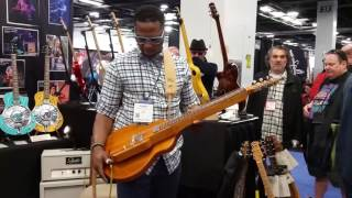 Robert Randolph testing out his prototype Asher Lap Steel at NAMM 2017