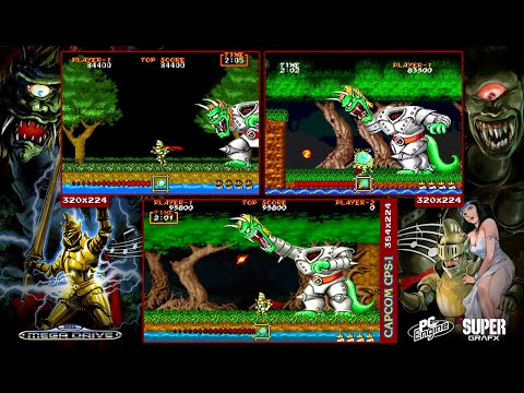 Ghouls 'n Ghosts 大魔界村 | Arcade, Mega Drive & PCE Supergrafx | Comparison - Triple Longplay