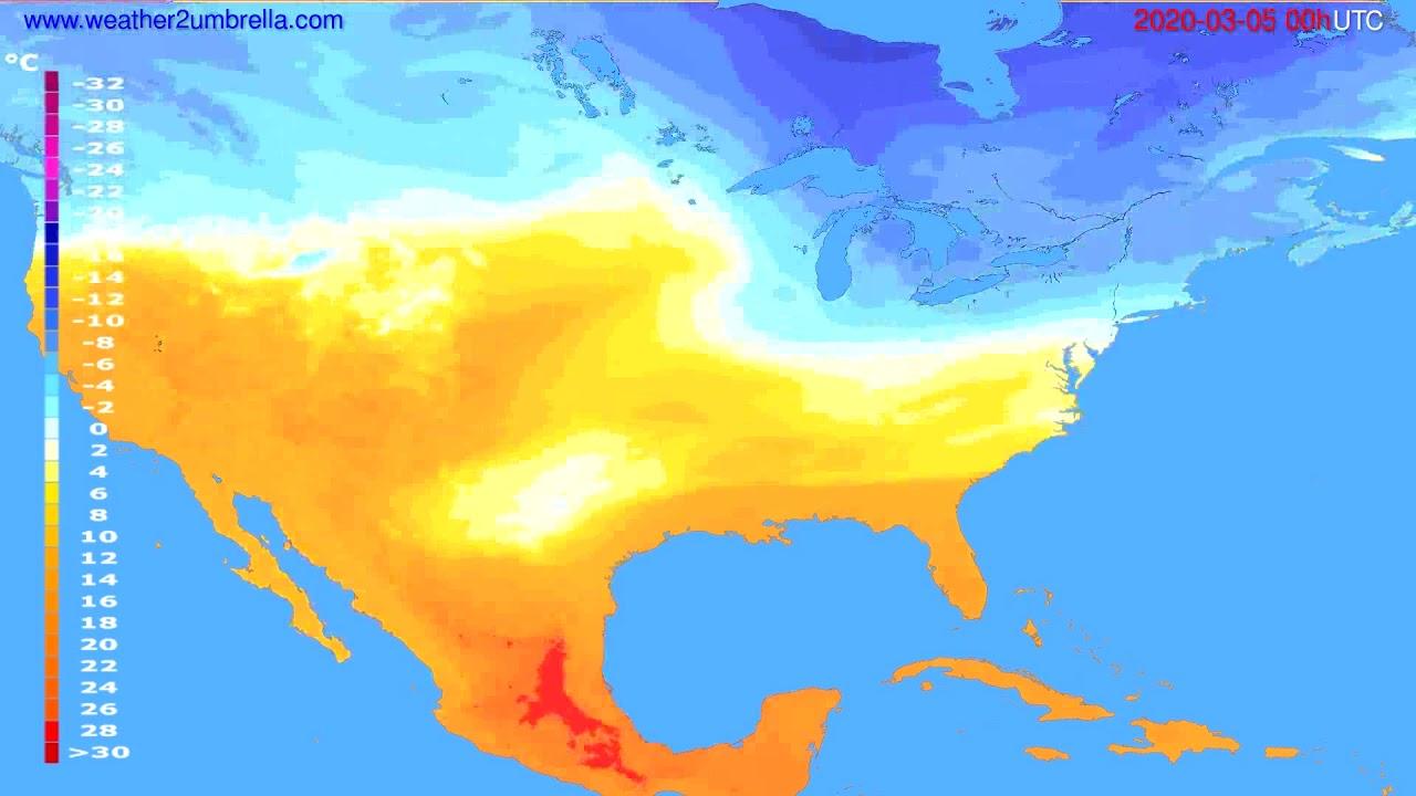 Temperature forecast USA & Canada // modelrun: 00h UTC 2020-03-04