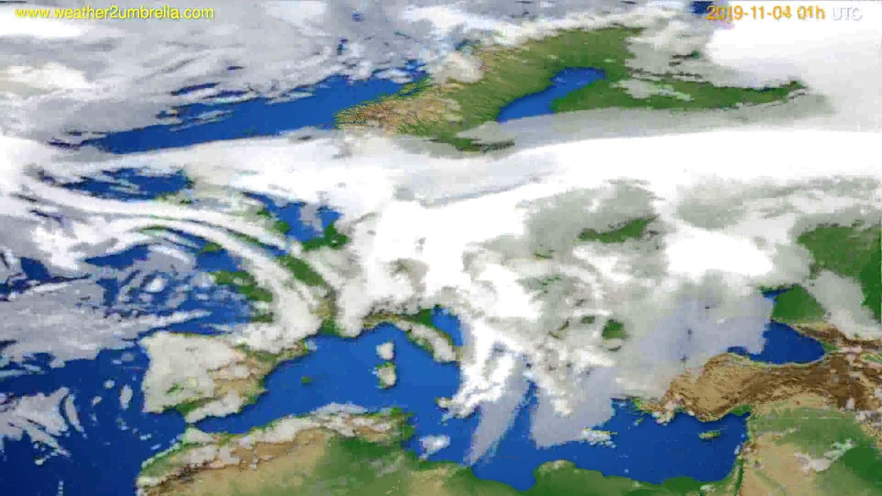 Cloud forecast Europe // modelrun: 00h UTC 2019-11-03