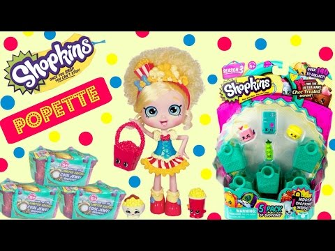 SHOPKINS Shoppies Popette Opens 5 Pack and Season 3 Baskets!