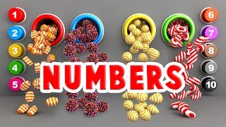 Learn to Count Numbers 1 to 10 for Toddlers Kids Babies with A Lot of 3D Candy Surprise Eggs