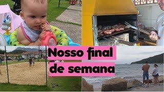 NOSSO FINAL DE SEMANA - Muito churrasco, praia, Futevôlei, laurinha comendo carne kkkk