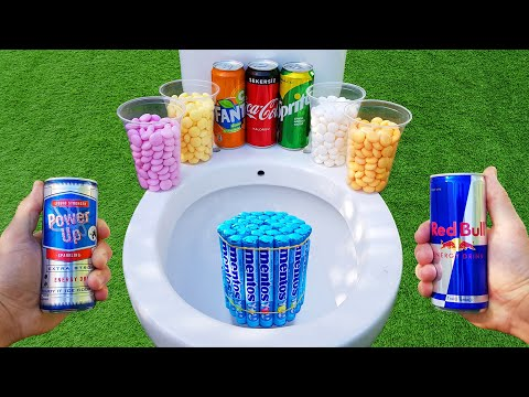 Experiment !! Mentos VS Toilet, Cola, Red bull, Fanta, Power up, Sprite and Fruity Mentos in toilet