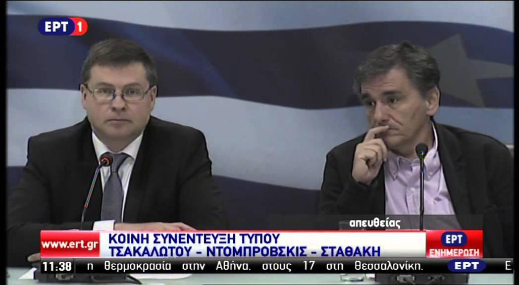 Κοινή συνέντευξη Τύπου Βάλντις Ντομπρόβσκις – Γ. Σταθάκη – Ευ. Τσακαλώτου
