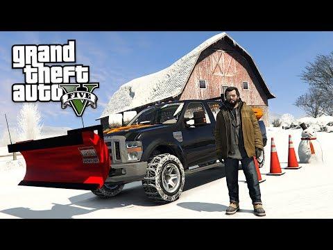 GTA 5 Real Life Mod #55 - DRIVING A SNOW PLOW TRUCK!! (GTA 5 Mods) (видео)