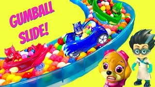 PJ Masks and Paw Patrol Giant Gumball Slide  Pool with Toy Surprises  Fizzy Toy Show