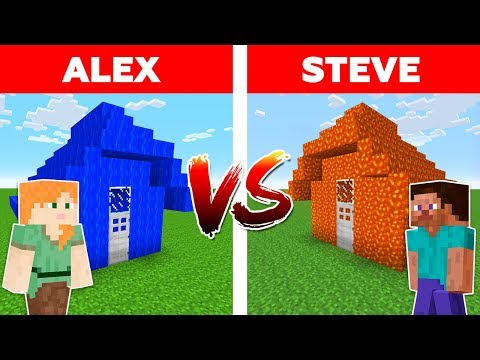 Minecraft - WATER HOUSE vs LAVA HOUSE / Alex vs Steve Part 1