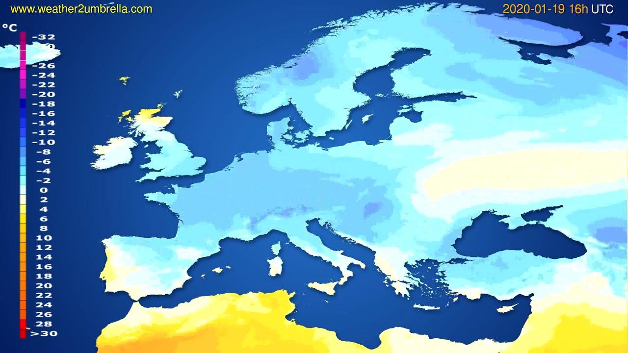Temperature forecast Europe // modelrun: 12h UTC 2020-01-18