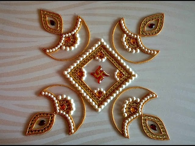 Diy kundan diya rangoli how to for Home made rangoli designs