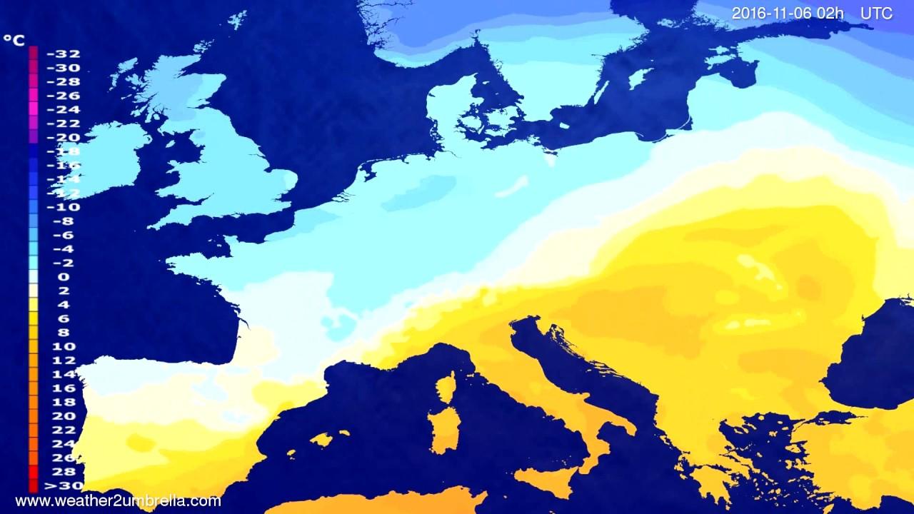 Temperature forecast Europe 2016-11-02