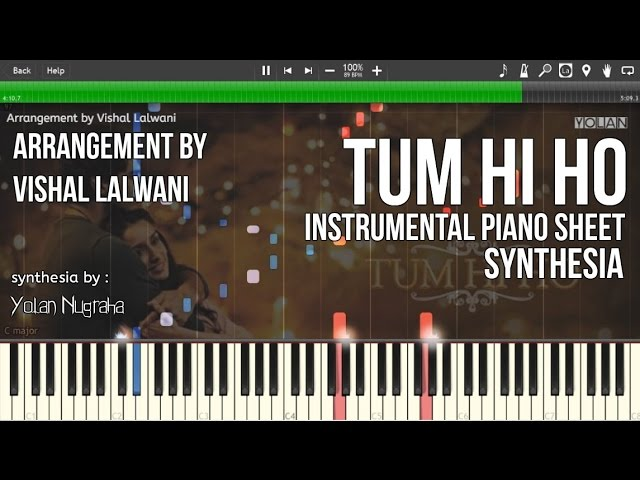 Tum Hi Ho Aashiqui 2 Instrumental Piano Sheets Synthesia Arrangement By Vishal Lalwani ...