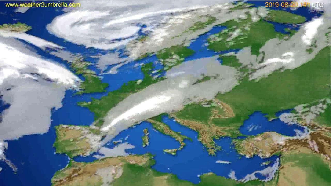 Cloud forecast Europe // modelrun: 12h UTC 2019-08-18