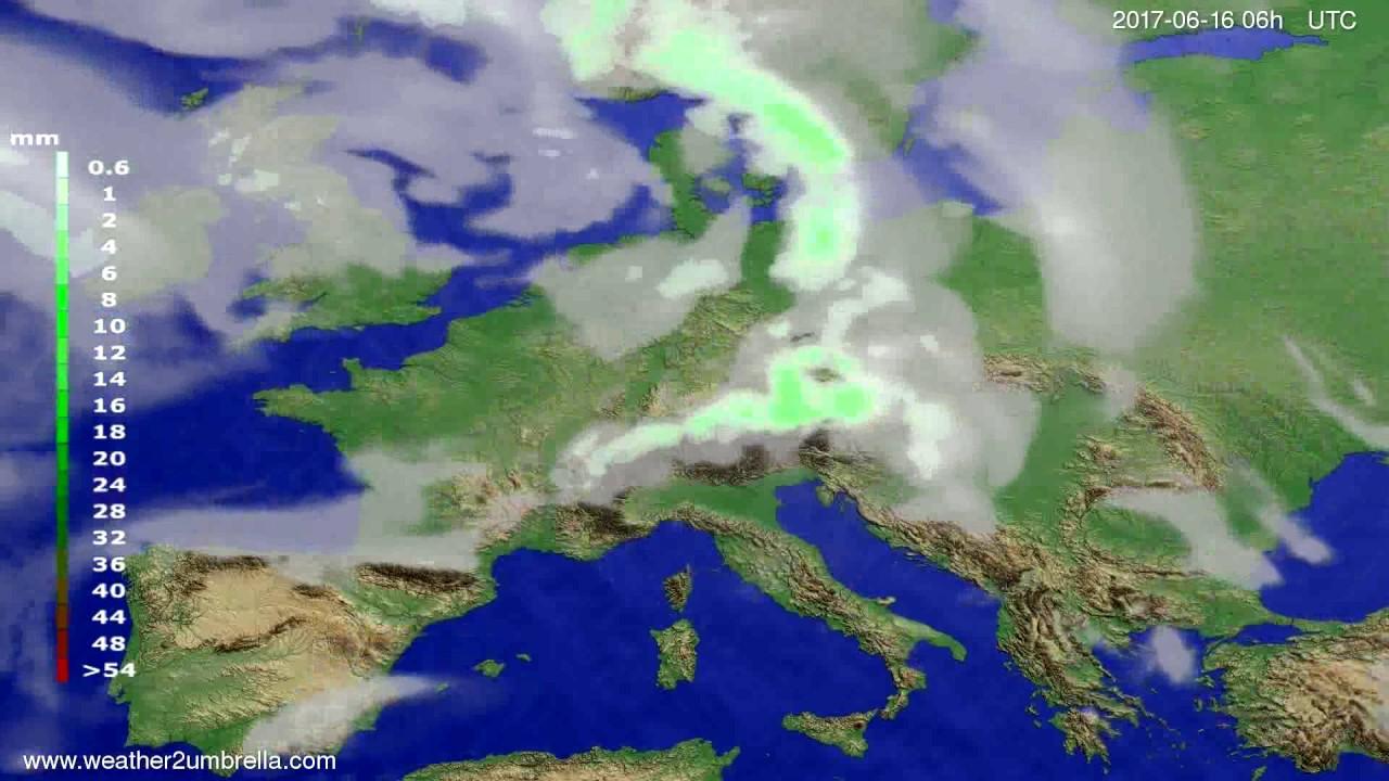 Precipitation forecast Europe 2017-06-13