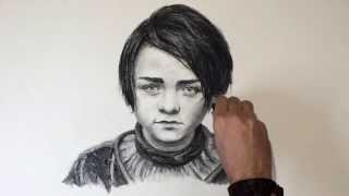 Arya Stark - Charcoal Portrait Time Lapse