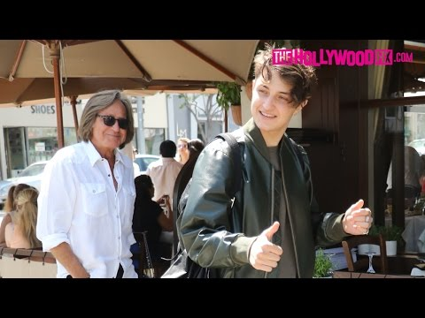 Anwar Hadid Is Congratulated On His Teen Vogue Cover At Il Pastaio With His Father Mohamed Hadid