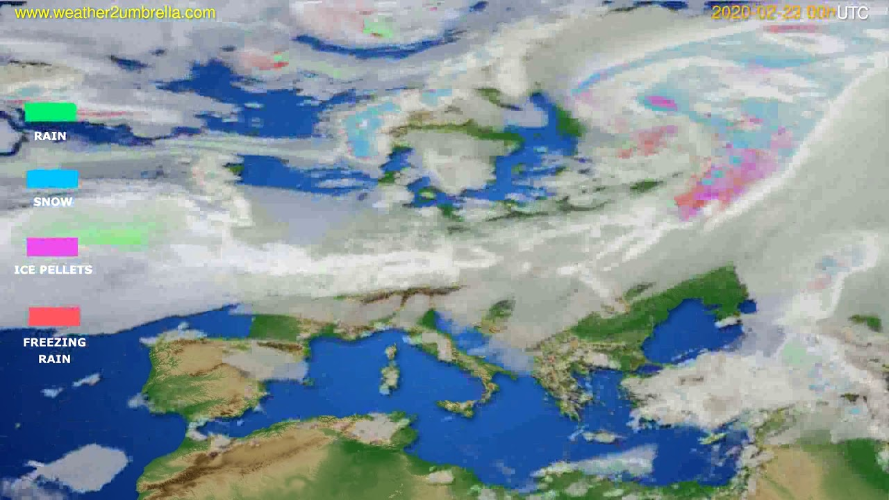 Precipitation forecast Europe // modelrun: 00h UTC 2020-02-22