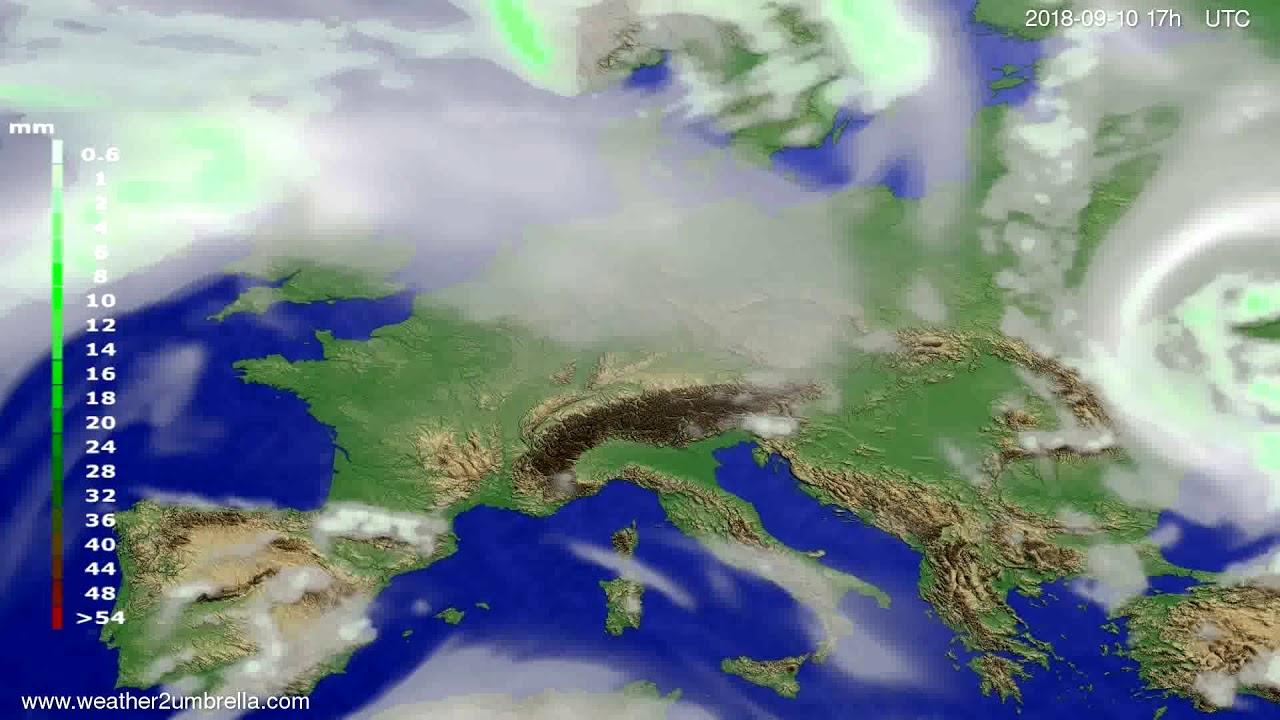 Precipitation forecast Europe 2018-09-08