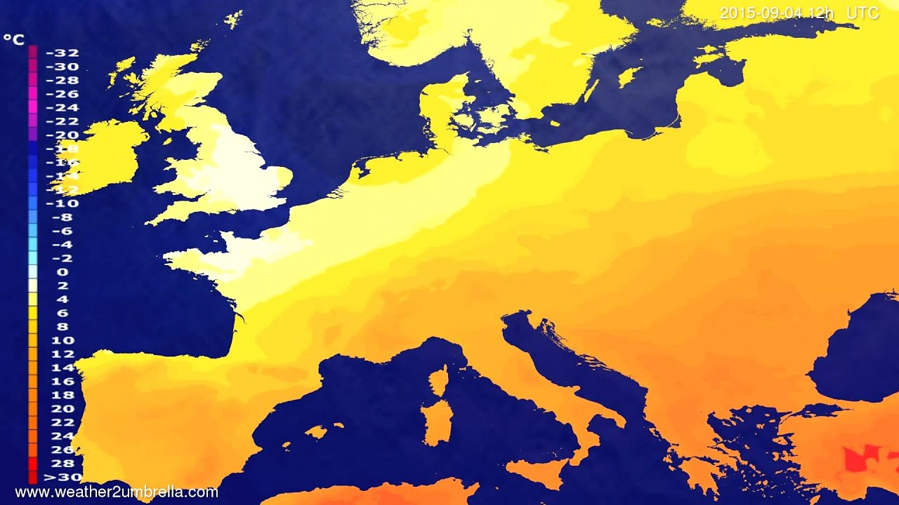 Temperature forecast Europe 2015-09-02