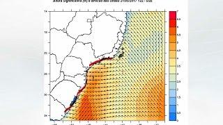 A meteorologista Josélia Pegorim comenta sobre a forte agitação no mar no centro-sul do BR esperada para o período de 18 a 22 de maio provocada pela ação com...