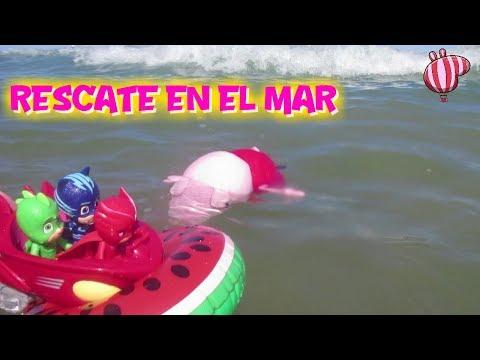 PJ Masks Héroes en Pijama rescatan a Peppa Pig en el mar  Vídeos de Peppa Pig en español