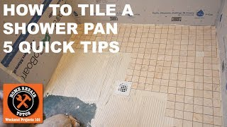 This quick video shares tips on how to tile a shower pan. Visit https://bathroomrepairtutor.com/ for more detailed tutorialsAre you tiling a shower pan floor?These 5 Quick Tips will help:Tip #1: Dry cut as many tiles as possible...sometimes tile mosaics fall apart when when cut with a wet tile saw. Use an angle grinder or tile cutter.Tip #2: Pay close attention to the tiles along the perimeter of the shower pan...make the tiles even along the perimeter walls.Tip #3: Don't tamp the tiles into the thin-set until you're sure they're where they need to be...use a grout float to do this.Tip #4: Mix thin-set according to the directions to get the right consistency...use measuring containers for water and thin-set.Tip #5: Don't use tile mosaics that have a lot of glue on the mesh because the tile won't properly bond to the thin-set.Hope these tips help your tile your shower wall. Visit us at Home Repair Tutor for more detailed tutorialshttps://www.homerepairtutor.com