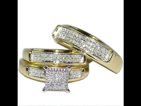 Yellow Gold Trio Wedding Sets Mens Women Rings Real 0.38ct Diamonds Princess Pave