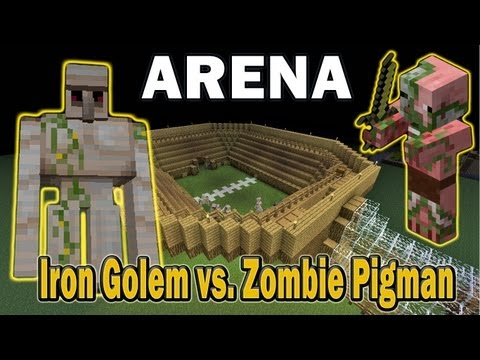 Minecraft Arena Battle Iron Golem vs. Zombie Pigman