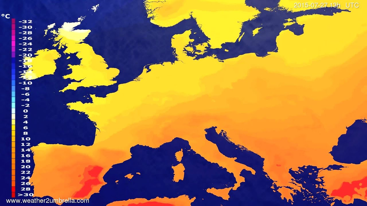 Temperature forecast Europe 2015-07-24