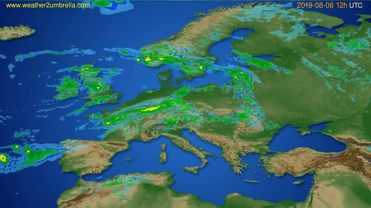 Radar forecast Europe // modelrun: 00h UTC 2019-08-06