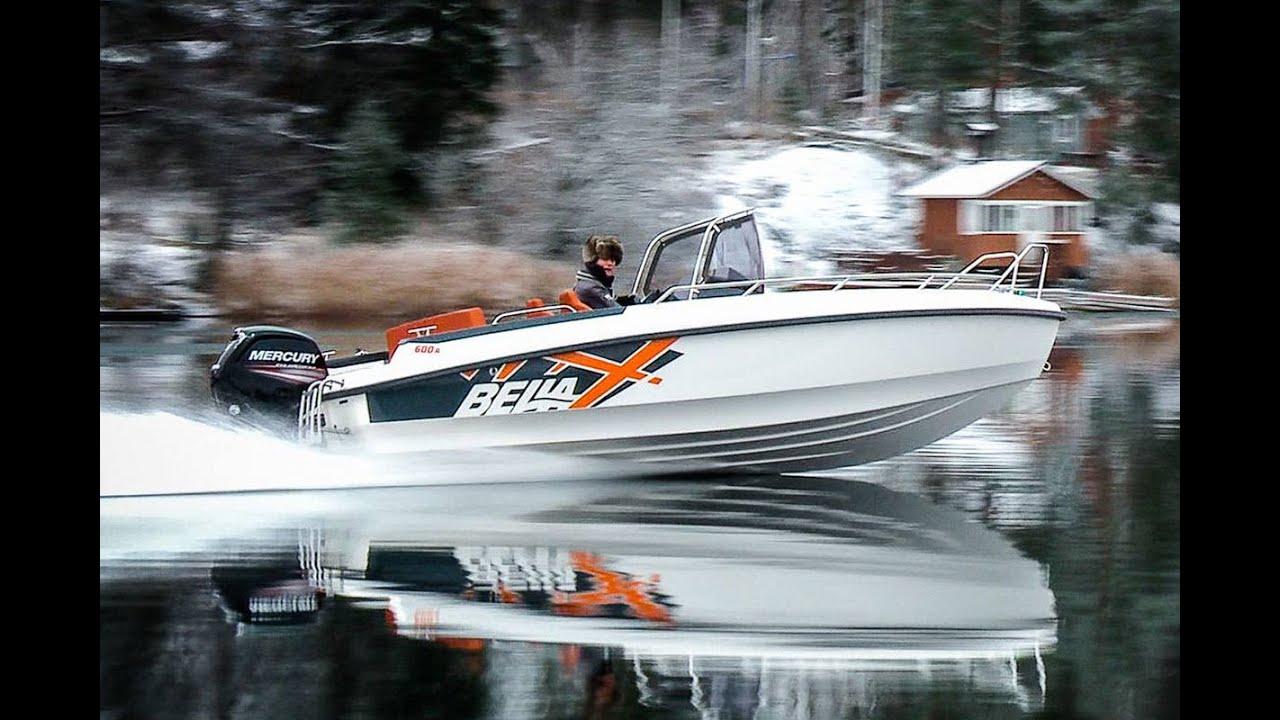 Обзор моторного катера из Финляндии Bella 600 R для рыбалки и отдыха. Зимний тест-драйв показывает, что катер можно использовать в любое время года.