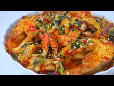 HOW TO COOK SEAFOOD OKRA SOUP USING BARRACUDA FISH