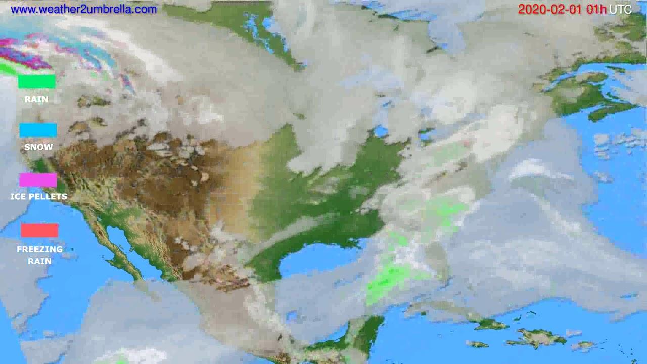 Precipitation forecast USA & Canada // modelrun: 12h UTC 2020-01-30