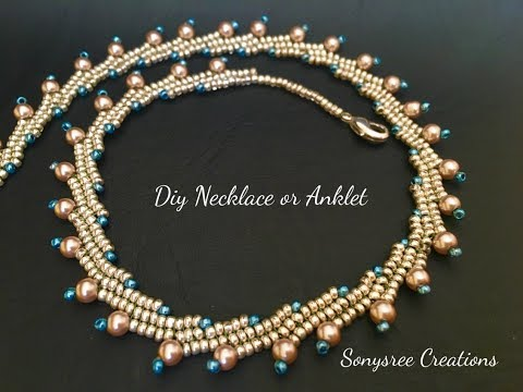 Beautiful Beaded Necklace or Anklet..( Herringbone Stitch) 👍🏻