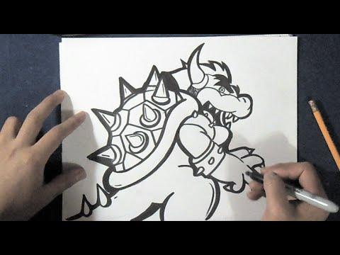 """wie zu zeichnen """"Bowser"""" Drachen – Mario Bros"""