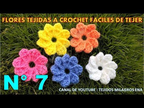 Flores tejidas a crochet fáciles de tejer # 7