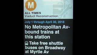 Due to long term construction until April 2018, there will be no M trains runnin' between Myrtle Avenue-Broadway and Middle Village-Metropolitan AvenueM trains will operate between Forest Hills-71 and Myrtle Avenue-Broadway, then rerouted via the J line to Broadway Junction. M train service will now run all day from 5AM until 11PM with no late night service. This is Phase I of the Myrtle Avenue Line reconstruction project which will last until September 1Here's the Manhattan-bound R160A M train and the M train Shuttle buses in action Myrtle Avenue-Broadway durin' the weekday midday service! I also get info of how the results of the construction will look when its finished in April 2018Shuttle buses will be provided to replace the loss of M train service at the followin' stations:-Flushing Av J/M/Z Station-Myrtle Av/Broadway J/M/Z Station-Myrtle/Wyckoff Avs L StationFOLLOW ME: Google: http://plus.google.com/+BwayLineEntTwitter: http://twitter.com/BwayLine7795Facebook: http://FB.me/BLETransitInstagram: http://Instagram.com/reggakabwaylineThankx for watchin' and stay tuned for the latest uploads