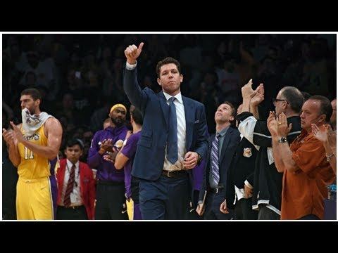 Luke Walton, head coach of Los Angeles Lakers, gets support from owner Jeanie Buss