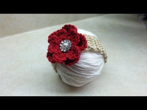Easy to Crochet #Baby #Headband with Crochet Flower  DIY Crochet Infant tutorial