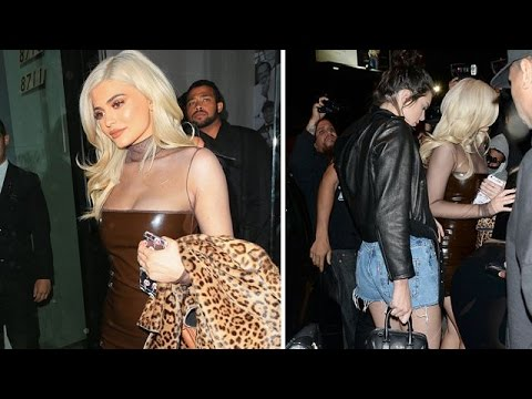Kylie In Sexy Dress, Kendall In Short Denim During Night Out